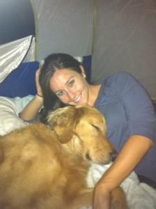 Finn sleeping in the tent